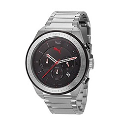 Puma - Men's stainless steel chronograph watch with black dial and black strap