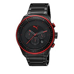 Puma - Men's stainless steel IP black chronograph watch with black dial, IP red detailing and black strap