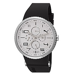Puma - Men's stainless steel multi-function watch with white dial and black strap
