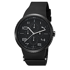 Puma - Men's stainless steel multi-function watch with black dial and black strap