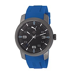 Puma - Men's stainless steel watch with black dial and blue strap
