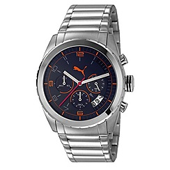 Puma - Men's stainless steel chronograph watch with black dial and stainless steel bracelet