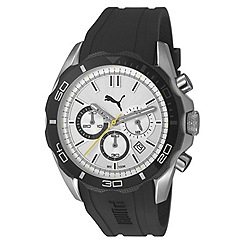 Puma - Men's stainless steel chronograph watch with intricate white dial and black strap