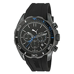 Puma - Men's stainless steel chronograph watch with intricate black dial and black strap