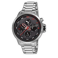 Puma - Men's stainless steel multifunction watch with black dial and stainless steel bracelet