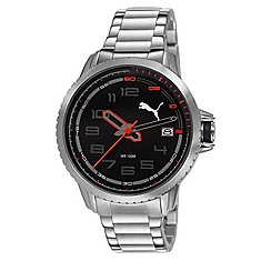 Puma - Men's stainless steel watch with black dial and stainless steel bracelet
