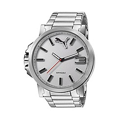 Puma - Men's stainless steel watch with silver dial and stainless steel bracelet