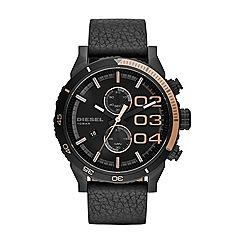 Diesel - Men's  black leather strap watch