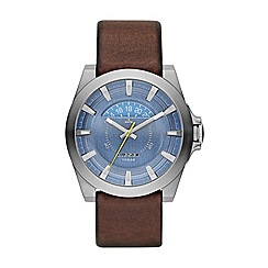 Diesel - Men's  brown leather strap watch