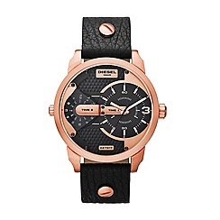 Diesel - Men's  black leather strap watch