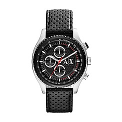Armani Exchange - Gents stainless steel case black leather strap watch