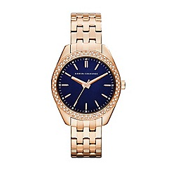 Armani Exchange - Ladies rose gold IP plated case and bracelet watch