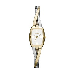 DKNY - Ladies stainless steel steel crosswalk rectangle dial two tone stainless steel and gold ip watch
