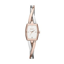 DKNY - Ladies stainless steel steel crosswalk rectangle dial two tone stainless steel and rosegold ip watch