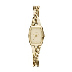 DKNY - Ladies gold-tone stainless steel crosswalk rectangle dial crystal watch