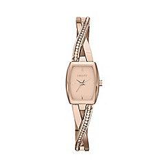 DKNY - Ladies rose gold-tone stainless steel crosswalk rectangle dial crystal watch