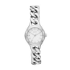 DKNY - Ladies silver-tone foil-set crystal bryant park bangle watch