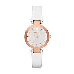 DKNY - Ladies white leather strap stanhope watch