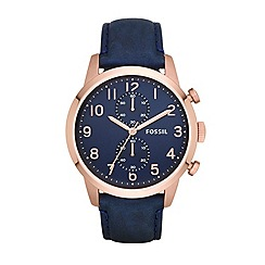 Fossil - Mens Townsman watch with navy strap and rose-gold case