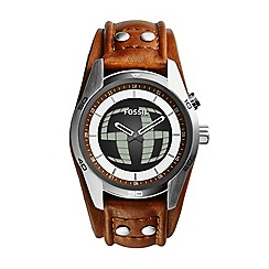 Fossil - Mens Coachman watch with leather strap and digital second hand