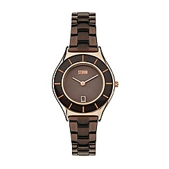 STORM - Ladies brown glass bezel date steel watch