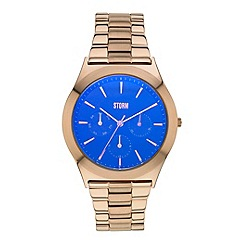 STORM - Ladies rose gold & blue multifunction bracelet watch