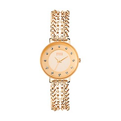STORM - Ladies rose gold crystal set chain bracelet watch