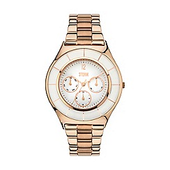 STORM - Ladies rose gold & white multifunction bracelet watch