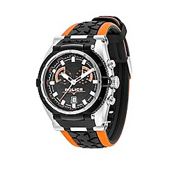 Police - Men's black and orange strap watch