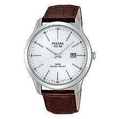 Pulsar - Men's solar strap watch, white dial, brown strap
