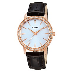 Pulsar - Ladies dress strap watch in gold plate