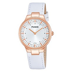 Pulsar - Ladies rose gold white leather strap dress watch