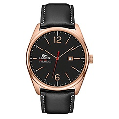 Lacoste - Men's black leather strap watch with black dial