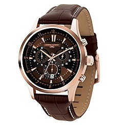 Jorg Gray - Mens bronze chronograph watch with brown leather dial