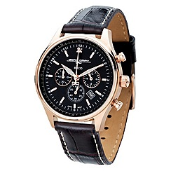 Jorg Gray - Ladies black dial chronograph black leather strapwatch