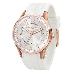Jorg Gray - Ladies silver 3 hand silicone strap watch