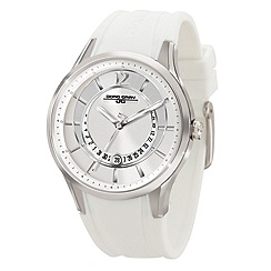Jorg Gray - Ladies silver 3 hand silicone strap watch with stainless steel case