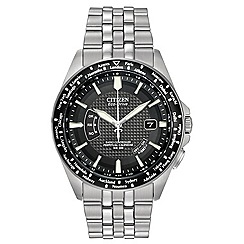 Citizen - Men's silver tone radio controlled world time watch