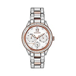 Citizen - Ladies two tone rose gold Swarovski crystal multi dial bracelet watch fd2016-51a