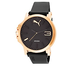 Puma - Unisex Rose Gold 'Ultrasize' watch with leather strap