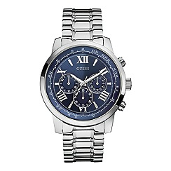 Guess - Men's silver bracelet watch with blue dial.