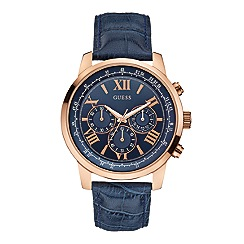 Guess - Mens blue leather strap watch with a rose gold case