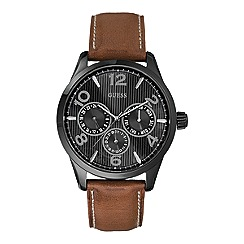 Guess - Men's brown leather strap watch with black dial