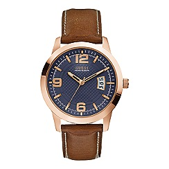 Guess - Men's rose gold case and brown leather strap watch