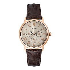 Guess - Men's brown crocodile effect leather strap watch with khaki dial