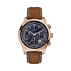 Guess - Men's brown leather strap watch with blue dial w0500g1
