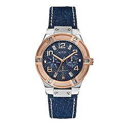 Guess - Women's blue denim strap watch with rose gold and silver