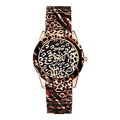 Guess - Women's rose gold animal print bracelet watch