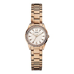 Guess - Women's rose gold bracelet watch with crystal detail