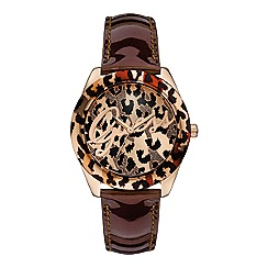 Guess - Women's brown leather strap watch with rose gold animal logo dial